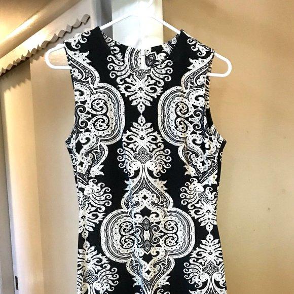 Black White Sleeveless Dress, Boho Print Bodycon